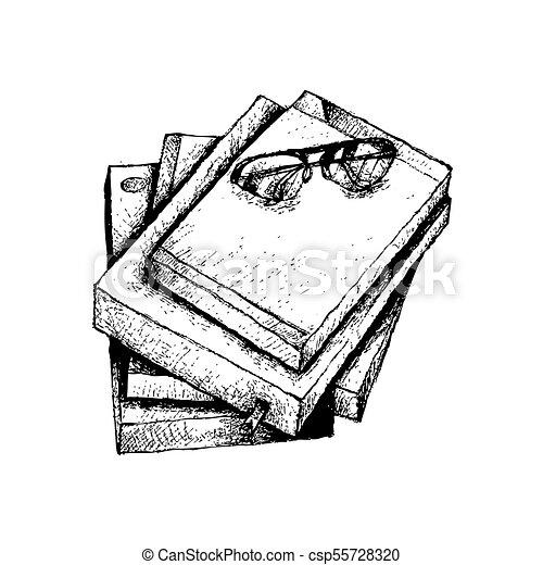 Bücherstapel gezeichnet  Gezeichnet, buecher, stapel, brille, hand. Skizze, freigestellt ...