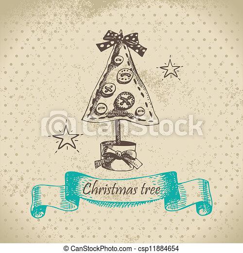 Weihnachtsbaum Gezeichnet.Gezeichnet Design Weihnachtsbaum Hand
