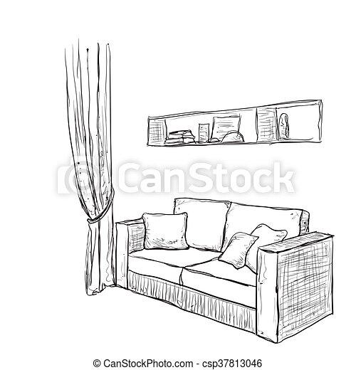 Sofa gezeichnet  Gezeichnet, hand, sketch., sofa. Zimmer, sofa, interior.,... EPS ...