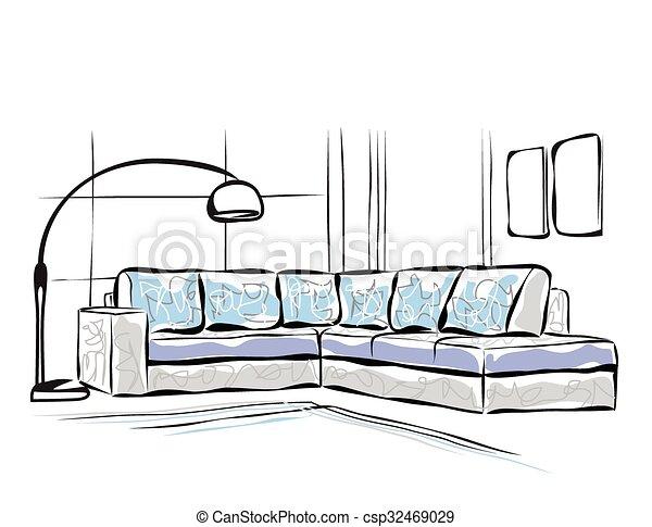 Sofa gezeichnet  Gezeichnet, hand, sofa. Sketch., sofa, hand, interior.,... Vektor ...