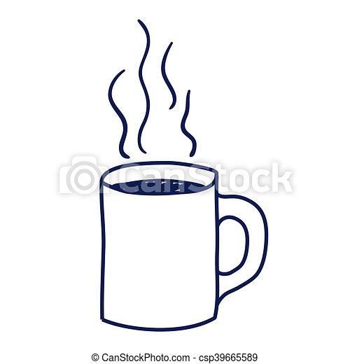 Gezeichnet Kaffeetasse Freigestellt Ikone Kaffeetasse