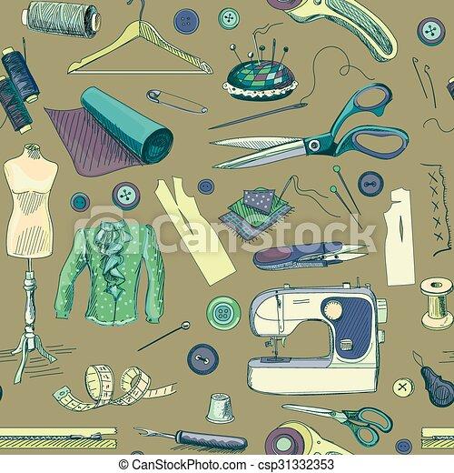 Gezeichnet, nähen, hand, muster. Maschine, nähen, kleiderbügel ...