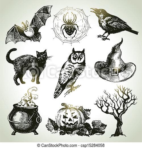 Gezeichnet, satz, halloween, hand Clipart Vektor - Suche ...