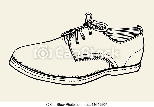 Gezeichnet Schuh Hand Abbildung Hand Vektor Schuh Gezeichnet