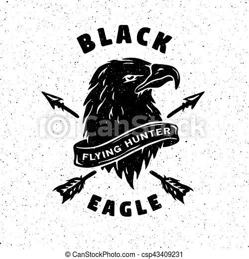 gezeichnet schwarz hand eagle emblem adler