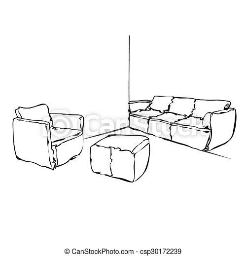 Sofa gezeichnet  Gezeichnet, skizze, hand, card., sofa. Skizze, sofa., hand ...