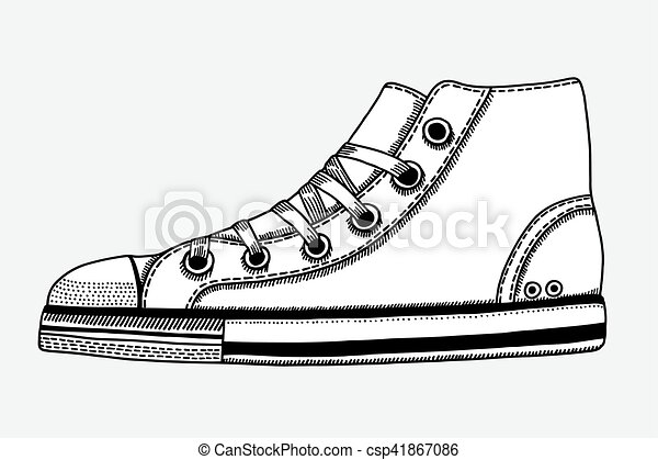 Gezeichnet Skizze Sport Schuhe Hand Skizze Illustration Women