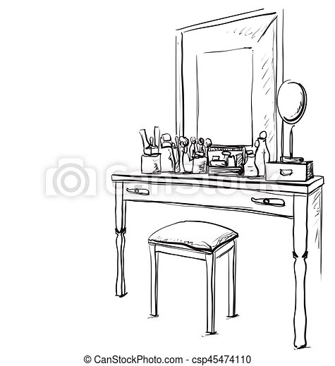Tisch gezeichnet  Vektor Clipart von gezeichnet, spiegel., stuhl, tisch, hand ...