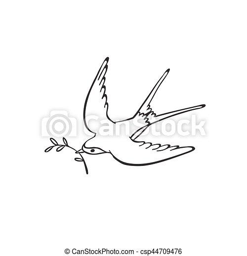 Gezeichnet, vogel, hand. Stil, färbung, kunst, weißes,... Vektoren ...