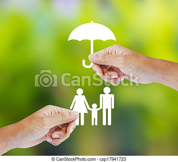 gezin, concept, verzekering - csp17941723