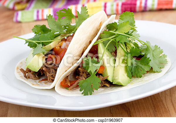 gezogen, schweinefleisch, weicher taco - csp31963907