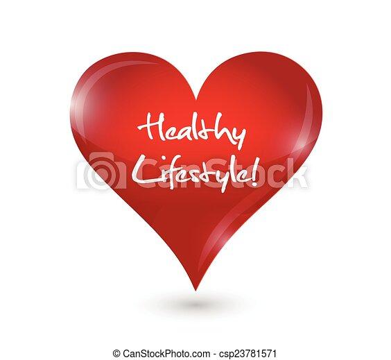 gezond hart, ontwerp, levensstijl, illustratie - csp23781571