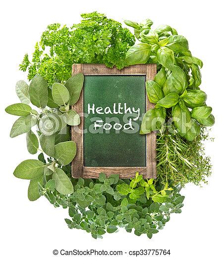 gezond voedsel, groen chalkboard, fris, herbs. - csp33775764