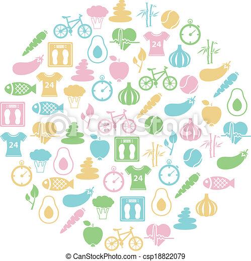 gezonde , cirkel, levensstijl, pictogram - csp18822079