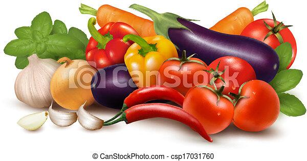 gezonde , leaves., illustratie, eating., vector, groente, fris - csp17031760