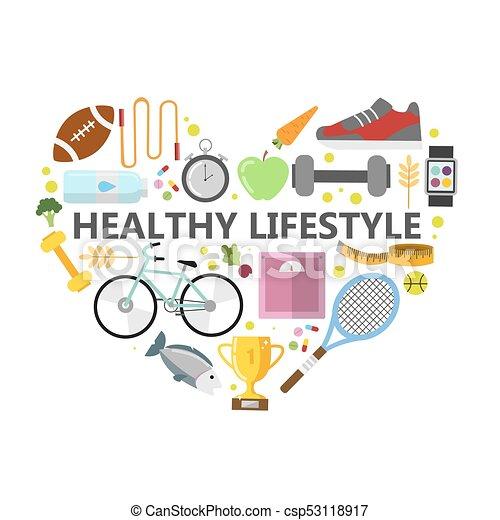 gezonde levensstijl, illustration. - csp53118917