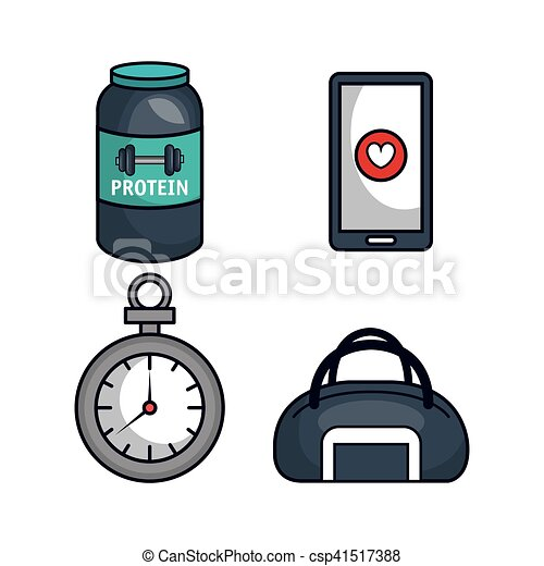 gezonde , plat, levensstijl, iconen - csp41517388