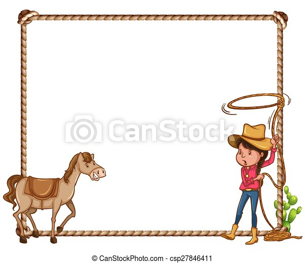 Gf_frames_45. White background with cowgirl and horse frame.