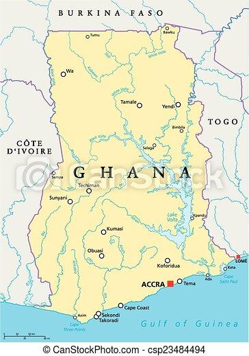 ghana, carte, politique - csp23484494