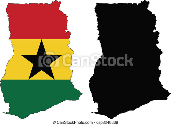 Ghana Vector Map And Flag Of Ghana With White Background Eps - Ghana map vector