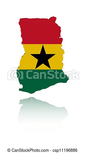 Ghana map flag with reflection illustration - csp11196886