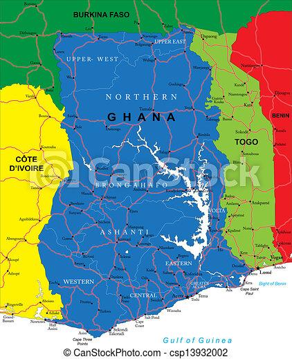 Ghana Map Highly Detailed Vector Map Of Ghana With Vector - Map of ghana
