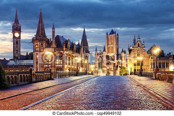 Ghent, Belgium during night, Gent old town - csp49949102
