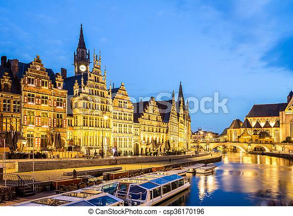 Ghent Old town Belgium - csp36170196