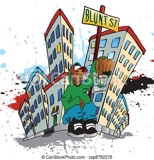 Ghetto blunt street illustration of a guy sitting with a clip ghetto blunt street csp8782276 sciox Images