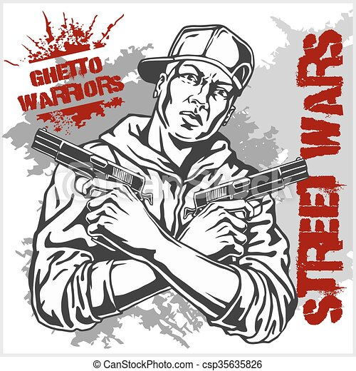Vector illustration of ghetto warriors vector illustration ghetto warriors vector illustration gangster on dirty graffiti background csp35635826 sciox Images