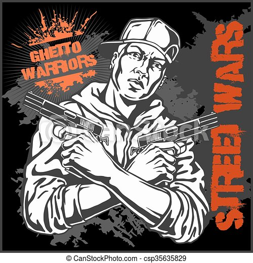 Ghetto Warriors vector illustration. Gangster on dirty graffiti background. - csp35635829