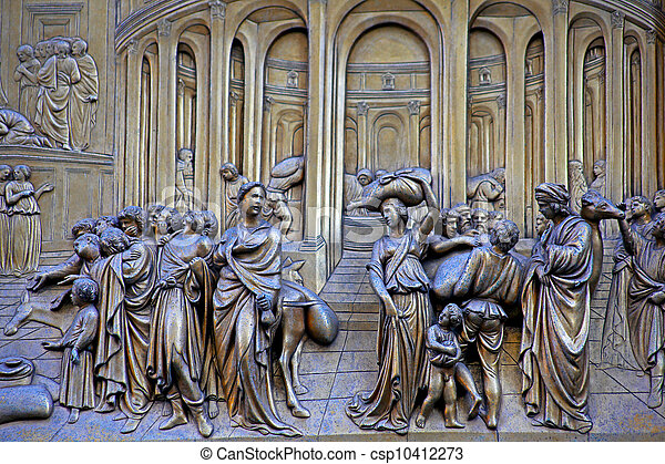 Ghiberti Paradise Baptistery Bronze Door Duomo Cathedral Florence Italy Door cast in the 1400s. - & Ghiberti paradise baptistery bronze door duomo cathedral... picture ...