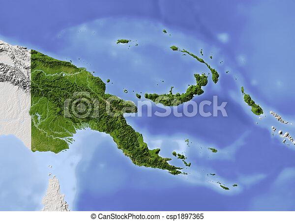 ghinea, map., papua, sollievo, nuovo, ombreggiato - csp1897365