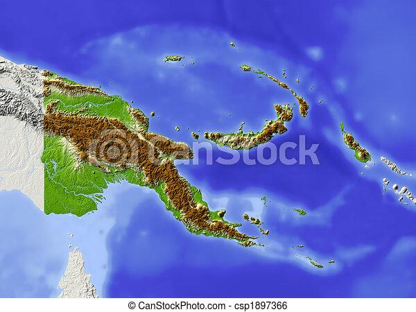 ghinea, map., papua, sollievo, nuovo, ombreggiato - csp1897366