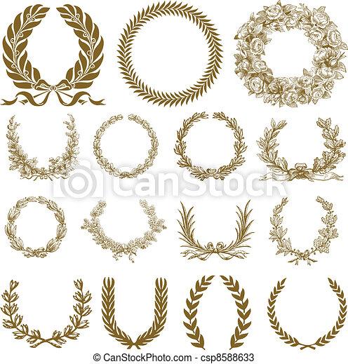 ghirlanda, alloro, set, bronzo, vettore - csp8588633