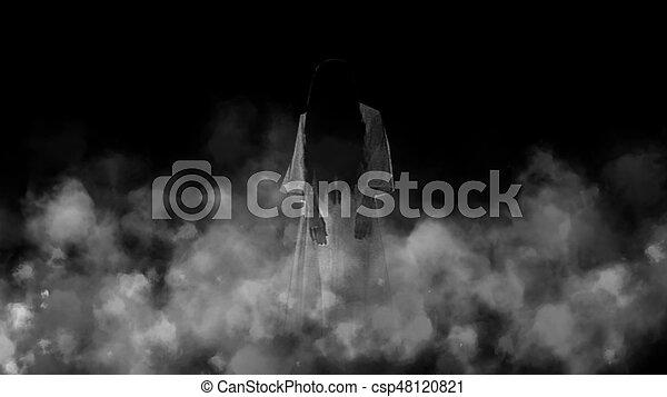Ghost girl in the mist. Night terror - csp48120821