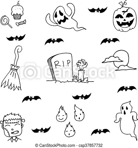 Ghost Halloween In Doodle Hand Draw Ghost Halloween In Doodle With Hand Draw