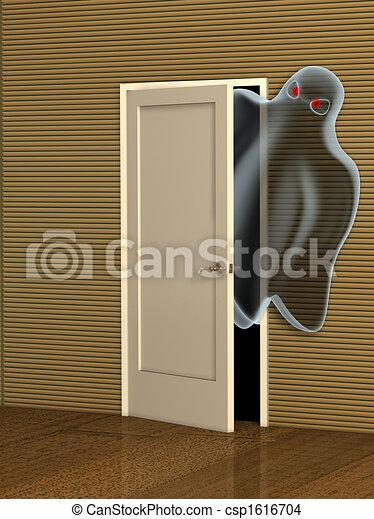 Ghost opening a door - csp1616704 & Ghost opening a door. Dark series - ghost opening a door.