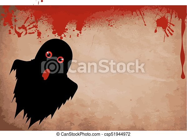 Ghost silhouette with red eyes on bloody grunge background with ...