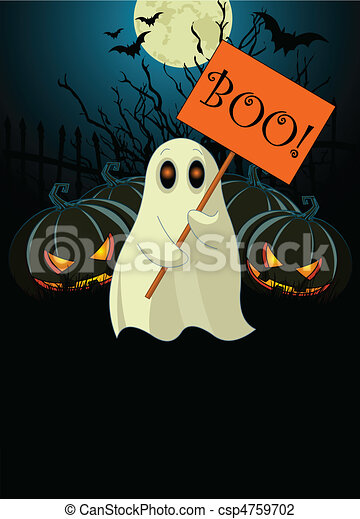 Ghost with sign. Halloween invit - csp4759702