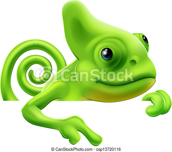 giù, cartone animato, indicare, camaleonte - csp13720116