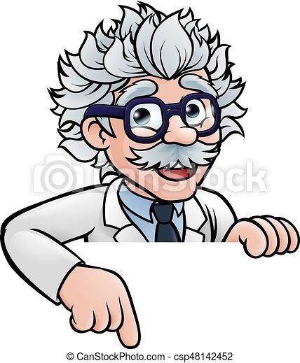 giù, indicare, scienziato, cartone animato, carattere - csp48142452