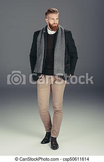 grandi affari ultima moda prezzo economico Giacca, elegante, sciarpa, uomo. Giacca, lontano, isolato, grigio ...