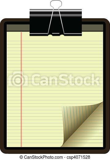giallo, carta, cuscinetto, legale, angolo, pagina - csp4071528