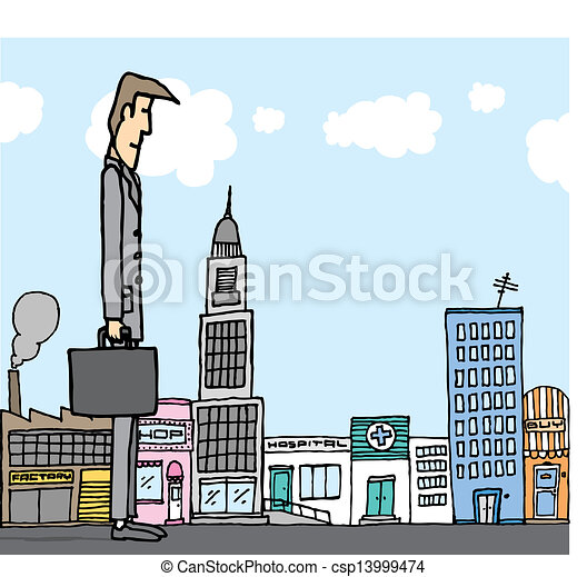 Giant businessman in the city / Business concept - csp13999474