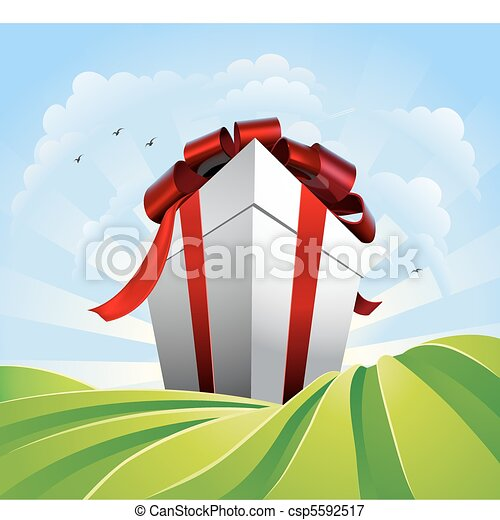 Giant gift in fields - csp5592517