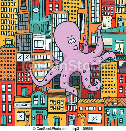 Giant octopus attack and take over a colorful city - csp31109566