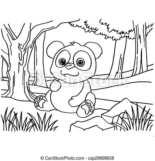 Image of giant panda coloring pages vector clipart vector - Search ...