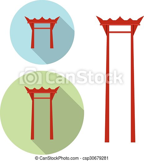 Giant Swing, torii gate icon - csp30679281