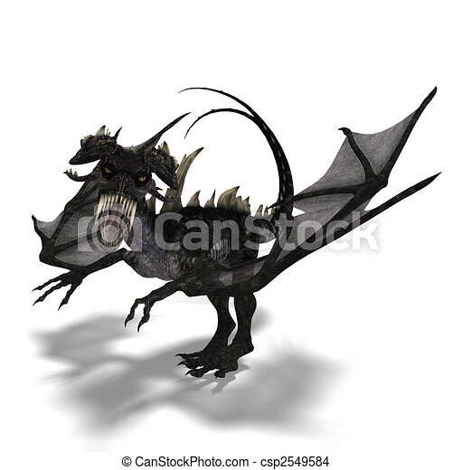 giant terrifying dragon with wings and horns attacks - csp2549584